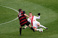 Chester, PA - Sunday December 10, 2017: Drew Skundrich, Griffin Dorsey. Stanford University defeated Indiana University 1-0 in double overtime during the NCAA 2017 Men's College Cup championship match at Talen Energy Stadium.