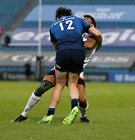 Friday 14th May 2021; Robert Baloucoune is tackled by Robbie Henshaw during the Guinness PRO14 Rainbow Cup Round 3 clash between Leinster and Ulster at The RDS Arena, Ballsbridge, Dublin, Ireland. Photo by John Dickson/Dicksondigital