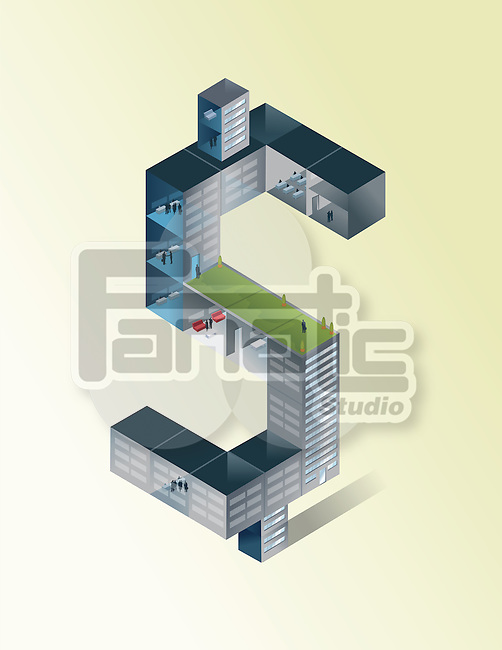 Illustration of dollar shaped building against colored background