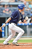 Asheville Tourists center fielder Max White #13 swings at a pitch during a game against the Kannapolis Intimidators at McCormick Field on June 5, 2014 in Asheville, North Carolina. The Intimidators defeated the Tourists 5-3. (Tony Farlow/Four Seam Images)