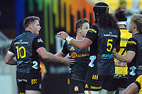 Chiefs' Kaleb Trask celebrates his try during the Super Rugby Aotearoa match between the Hurricanes and Chiefs at Sky Stadium in Wellington, New Zealand on Saturday, 20 March 2020. Photo: Dave Lintott / lintottphoto.co.nz