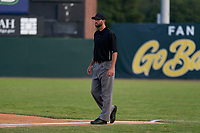 Umpire Jesse Osborne during a Collegiate Summer League game between the Macon Bacon and Savannah Bananas on July 15, 2020 at Grayson Stadium in Savannah, Georgia.  (Mike Janes/Four Seam Images)