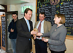 David Cameron, the Conservative Party leader gets given some Welsh cakes  at the Myrddin Bakery in Carmarthen today as he toured the area and spoke to local businesses during his visit to South Wales today..The Conservatives want to introduce a bill demanding compulsory country of origin labelling, which will require products carrying the UK flag to be born, reared and processed in Britain...