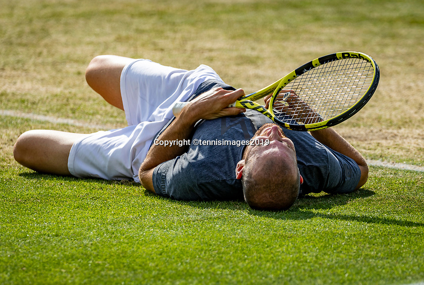 Rosmalen, Netherlands, 16 June, 2019, Tennis, Libema Open, winner of the final Adrian Mannarino (FRA) goes down on the gras in jubilation<br /> Photo: Henk Koster/tennisimages.com