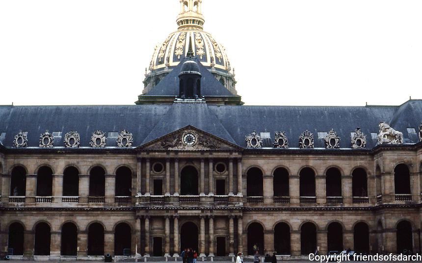 Paris: Hotel des Invalides, Cour D'Honneur, and Dome behind. Photo '90.