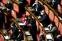 The secretary of Italia Viva Matteo Renzi during the information at the Senate about the government crisis.<br /> Rome(Italy), January 19th 2021<br /> Photo Pool Francesco Fotia/Insidefoto