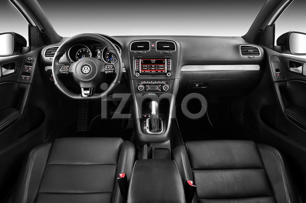 Straight dashboard view of a 2011 Volkswagen Golf R 5 Door Hatchback Stock Photo