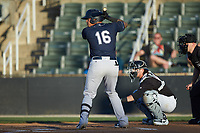 Nelson Gomez (16) of the Charleston RiverDogs at bat against the Kannapolis Intimidators at Kannapolis Intimidators Stadium on May 2, 2019 in Kannapolis, North Carolina. The RiverDogs defeated the Intimidators 4-0. (Brian Westerholt/Four Seam Images)