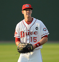 August 25, 2009: Outfielder Jeremy Hazelbaker (15) of the Greenville Drive, 2009 fourth round draft pick of the Boston Red Sox out of Ball State University, in a game at Fluor Field at the West End in Greenville, S.C. Photo by: Tom Priddy/Four Seam Images