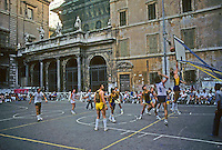 Italy: Rome--Santa Maria in Trastevere, much remodeled facade. 12th C. building altered in 17, 18. 19th C.  Basketball game in court. Photo '83.