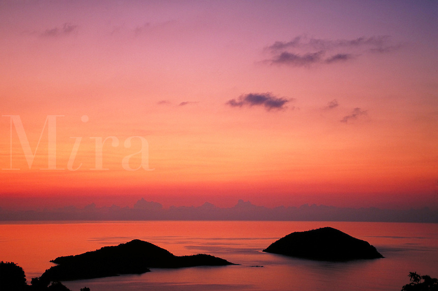 Inner & Outer Brass St Thomas at sunset. St Thomas, US Virgin Islands Caribbean.
