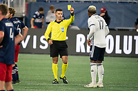 FOXBOROUGH, MA - OCTOBER 19: Referee Rubiel Vazquez gives a yellow card to Sergio Santos #17 of Philadelphia Union during a game between Philadelphia Union and New England Revolution at Gillette on October 19, 2020 in Foxborough, Massachusetts.