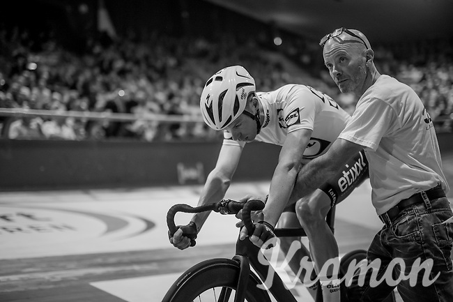 Iljo Keisse (BEL/Etixx-QuickStep) ahead of the derny race <br /> <br /> 2016 Gent 6<br /> day 6