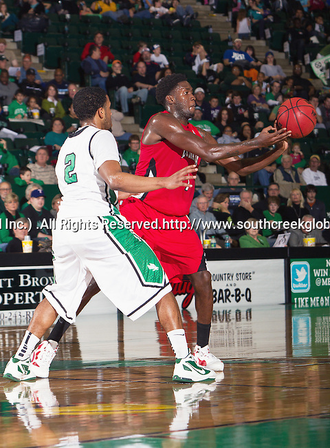 North Texas Mean Green guard Brandan Walton (2) and Louisiana Lafayette Ragin Cajuns guard Josh Brown (1) in action during the game between the Louisiana Lafayette Ragin Cajuns and the University of North Texas Mean Green at the North Texas Coliseum,the Super Pit, in Denton, Texas. Louisiana Lafayette defeats UNT 57 to 53.