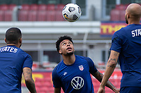 SANDY, UT - JUNE 8: Weston McKennie heads the ball during a training session at Rio Tinto Stadium on June 8, 2021 in Sandy, Utah.