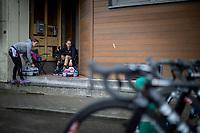 pre race prepping<br /> <br /> 3th Liège-Bastogne-Liège-Femmes 2019 (1.WWT)<br /> 1 Day Race: Bastogne – Liège 138,5km<br /> <br /> ©kramon