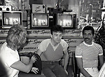 "Roger Taylor, John Deacon and Freddie Mercury of Queen attend Queen Press Conference for ""Hot Space"" at Crazy Eddie's on July 27, 1982  in New York City."