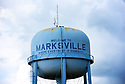 """The water tower reads """"Welcome to Marksville, Where Everybody is Somebody,'' Marksville, La., Sept. 17, 2017."""