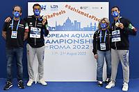 BONIFAZI Marco, PALTRINIERI Gregorio, DELSETTE Laura, ACERENZA Domenico, ITA Gold Medal<br /> Team Event 5 km <br /> Open Water<br /> Budapest  - Hungary  15/5/2021<br /> Lupa Lake<br /> XXXV LEN European Aquatic Championships<br /> Photo Andrea Staccioli / Deepbluemedia / Insidefoto