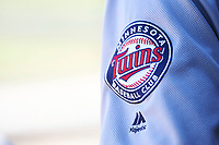The Minnesota Twins logo on the shoulder of Surprise Saguaros relief pitcher Ryan Eades (43) during an Arizona Fall League game against the Scottsdale Scorpions on October 27, 2017 at Scottsdale Stadium in Scottsdale, Arizona. The Scorpions defeated the Saguaros 6-5. (Zachary Lucy/Four Seam Images)
