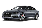 Stock pictures of low aggressive front three quarter view of a 2018 Audi A7 Premium Plus 5 Door Hatchback