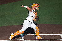 Tennessee Volunteers catcher Jackson Greer (19) on defense against the Arkansas Razorbacks on May 14, 2021, on Robert M. Lindsay Field at Lindsey Nelson Stadium in Knoxville, Tennessee. (Danny Parker/Four Seam Images)