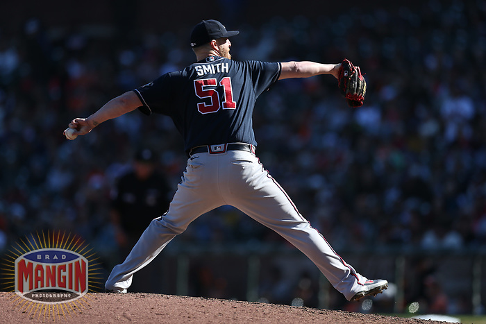 SAN FRANCISCO, CA - SEPTEMBER 19:  Will Smith #51 of the Atlanta Braves pitches against the San Francisco Giants during the game at Oracle Park on Sunday, September 19, 2021 in San Francisco, California. (Photo by Brad Mangin)