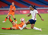 YOKOHAMA, JAPAN - JULY 30: Lynn Wilms #2 of the Netherlands defends Crystal Dunn #2 of the USWNT during a game between Netherlands and USWNT at International Stadium Yokohama on July 30, 2021 in Yokohama, Japan.