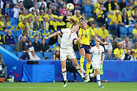 LE HAVRE, FRANCE - JUNE 20: Samantha Mewis #3, Julia Zigiotti #16 during a 2019 FIFA Women's World Cup France group F match between the United States and Sweden at Stade Océane on June 20, 2019 in Le Havre, France.