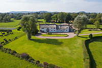 BNPS.co.uk (01202 558833)<br /> Pic: Savills/BNPS<br /> <br /> Pictured: An aerial view of the front of the property.<br /> <br /> A historic thatched home where Cromwell's army stayed during the English Civil War is on the market for £1.6m.<br /> <br /> The Barracks, so-named for its links with Cromwell more than 370 years ago, has spectacular country views and is in one of Cheshire's most popular areas.<br /> <br /> The five-bedroom property just outside the picturesque village of Bunbury is a far cry from how it would have looked in Cromwell's time, having been extended over the years.<br /> <br /> It was used in the 17th century by Cromwell's armies during the siege of Beeston Castle - two miles away. The castle's location made it valuable to both the royalists and parliamentarians.