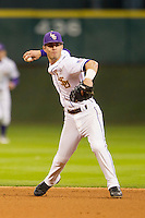 LSU Tigers second baseman Kramer Robertson (3) makes a throw to first base during the NCAA baseball game against the Houston Cougars on March 6, 2015 at Minute Maid Park in Houston, Texas. LSU defeated Houston 4-2. (Andrew Woolley/Four Seam Images)