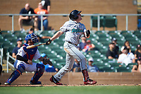 Salt River Rafters Luke Raley (25), of the Minnesota Twins organization, at bat during the Arizona Fall League Championship Game against the Surprise Saguaros on October 26, 2019 at Salt River Fields at Talking Stick in Scottsdale, Arizona. The Rafters defeated the Saguaros 5-1. (Zachary Lucy/Four Seam Images)