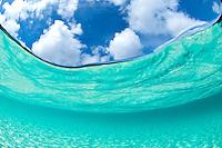 Split level water and sky<br /> Trunk Bay, St John<br /> Virgin Islands National Park