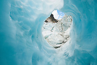 Blue ice cave on Franz Josef Glacier, Westland NP, West Coast, New Zealand
