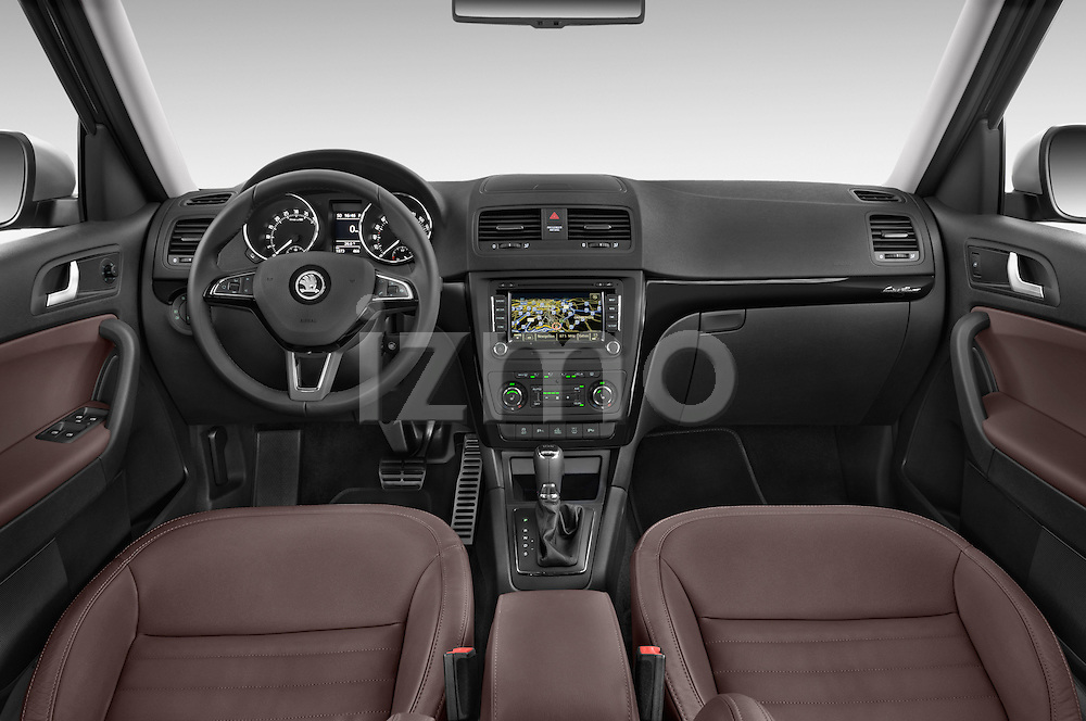 Stock photo of straight dashboard view of a 2014 Skoda YETI LAURIN & KLEMENT OUTDOOR 5 Door SUV 4WD Dashboard