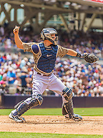 23 June 2013: San Diego Padres catcher Nick Hundley in action against the Los Angeles Dodgers at Petco Park in San Diego, California. The Dodgers defeated the Padres 3-1, splitting their 4-game Divisional Series at 2-2. Mandatory Credit: Ed Wolfstein Photo *** RAW (NEF) Image File Available ***