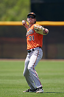 Baltimore Orioles Mason Janvrin (31) during warmups before a Minor League Spring Training game against the Tampa Bay Rays on April 23, 2021 at Charlotte Sports Park in Port Charlotte, Florida.  (Mike Janes/Four Seam Images)