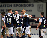 19th December 2020; Dens Park, Dundee, Scotland; Scottish Championship Football, Dundee FC versus Dunfermline; Liam Fontaine of Dundee is congratulated after scoring for 3-0 in the 72nd minute