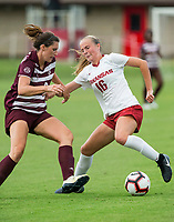 Hawgs Illustrated/BEN GOFF <br /> Emily Russell of Arkansas vs Texas A&M soccer Thursday, Sept. 20, 2018, at Razorback Field in Fayetteville.