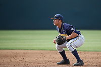 Ripken Reyers (4) of the California Bears in the field during a game against the UCLA Bruins at Jackie Robinson Stadium on March 25, 2017 in Los Angeles, California. UCLA defeated California, 9-4. (Larry Goren/Four Seam Images)