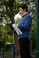 Playwright, actor and film director Robert Lepage reads a text  during the Moulin a Paroles held on the Plains of Abraham in Quebec city September 13, 2009.