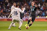 Real Madrid's Mateo Kovacic and Real Sociedad's David Zurutuza during La Liga match between Real Madrid and Real Sociedad at Santiago Bernabeu Stadium in Madrid, Spain. January 29, 2017. (ALTERPHOTOS/BorjaB.Hojas)