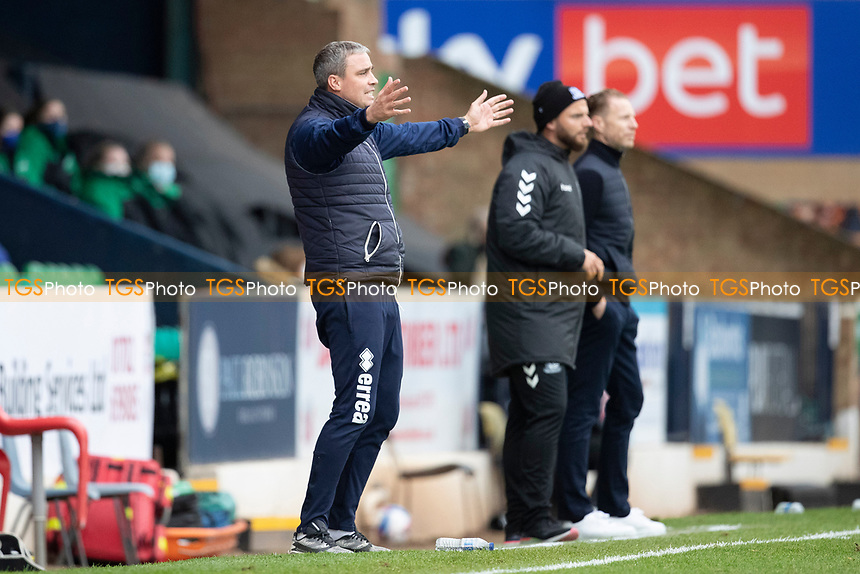 Michael Duff, Manager, Cheltenham Town animated in the technical area during Southend United vs Cheltenham Town, Sky Bet EFL League 2 Football at Roots Hall on 17th October 2020