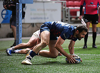 23rd April 2021; Ashton Gate Stadium, Bristol, England; Premiership Rugby Union, Bristol Bears versus Exeter Chiefs; Luke Morahan of Bristol Bears scores a try under pressure from Alec Hepburn of Exeter Chiefs