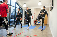Thursday  21 January 2016<br /> Pictured:  (L-R ) Angel Rangel, Kristoffer Nordfeldt and Ki Sung Yueng<br /> Re: Swansea City Training Session at the Fairwood training ground