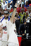 Real Madrid's Rudy Fernandez celebrates the victory in the Euroleague Final Match. May 15,2015. (ALTERPHOTOS/Acero)