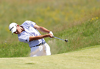 16th July 2021; Royal St Georges Golf Club, Sandwich, Kent, England; The Open Championship Tour Golf, Day Two;  Collin Morikawa (USA) hits his second shot on the 17th