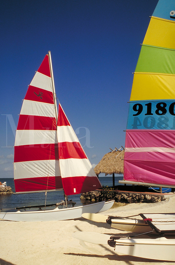 Colorful sunfish sailboats on the beach. sailboat, boat, boats. Florida, Florida Keys.