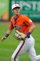 Outfielder Steven Duggar (9) of the Clemson Tigers prior to a fall scrimmage against College Lafleche from Canada on October 17, 2013, at Fluor Field at the West End in Greenville, South Carolina. (Tom Priddy/Four Seam Images)