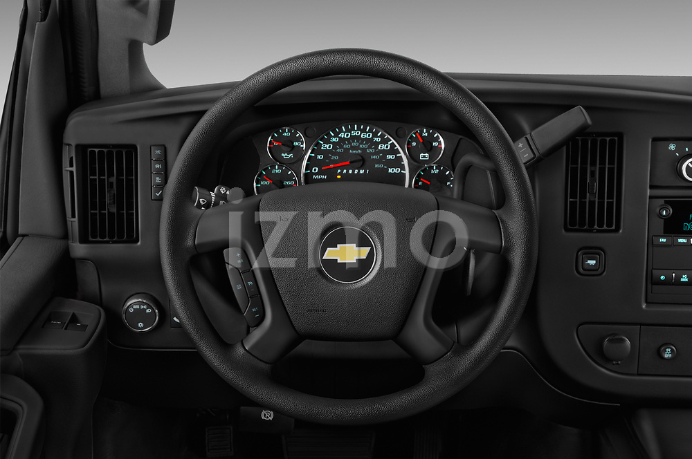 Car pictures of steering wheel view of a 2018 Chevrolet Express 3500 3500 Extended Work Van 4 Door Cargo Van